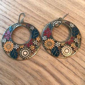 Brushed gold hoop earrings multi color